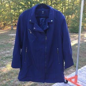 Ellos moto Taylor slant zip Jacket Navy Blue 09